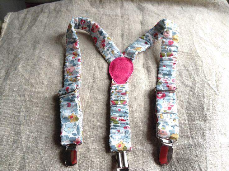 Bretelle enfant réglable élastique recouvert de Liberty modèle betsy porcelaine : Mode filles par piment-t