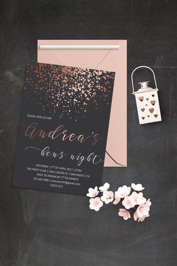 bridal shower invitations free printable templates%0A Rose Gold Bridal Shower Invitation Printable by BohemePrints