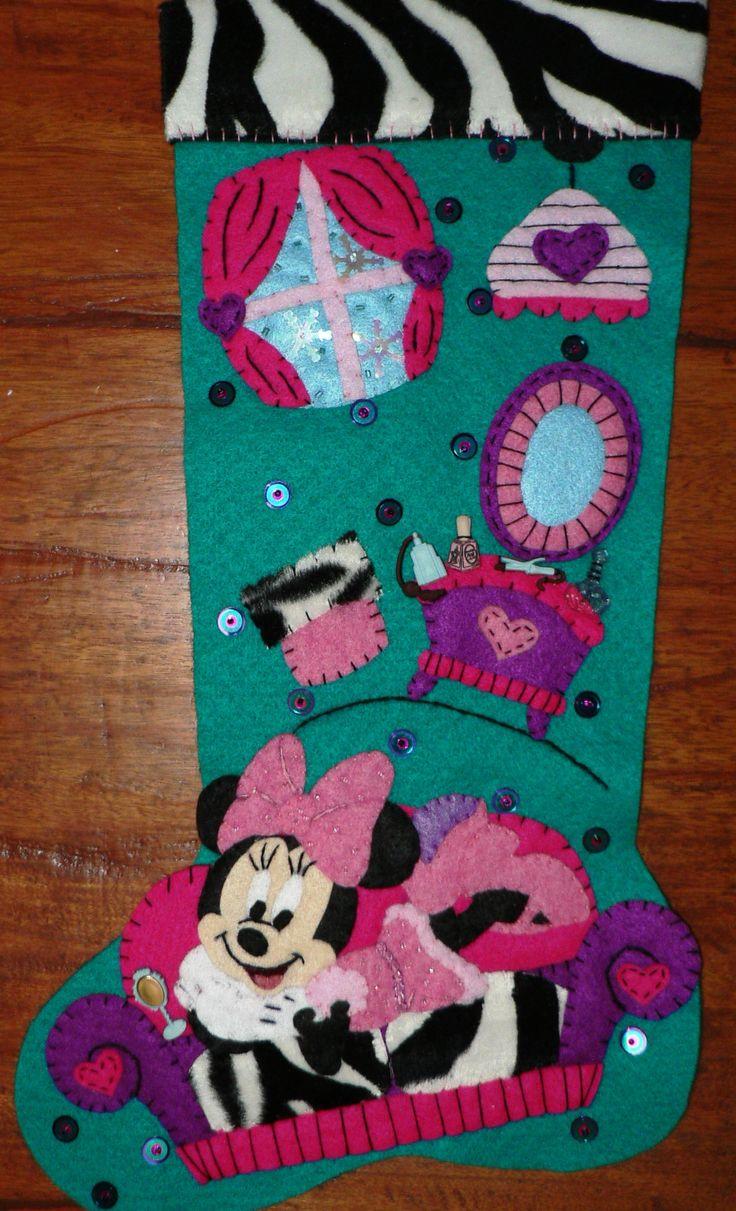 Minnie en su recamara botas navide as pinterest - Decoracion navidena fieltro ...