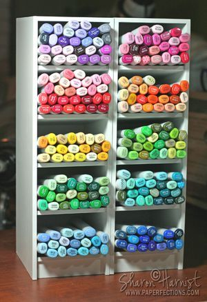 """Color Cubbie - Each Cubbie tower is 4.25"""" wide and 14"""" tall. The Cubbies are also deeper -- 5.50"""", allowing 1/2"""" of your Copic Sketch marker easy to grab on to. Shelves slightly angled (tipped up in the front), so the numbers on the ends of the makers are easier to read AND this prevents all of the makers from coming tumbling out when you grab one from the bottom of the pile."""