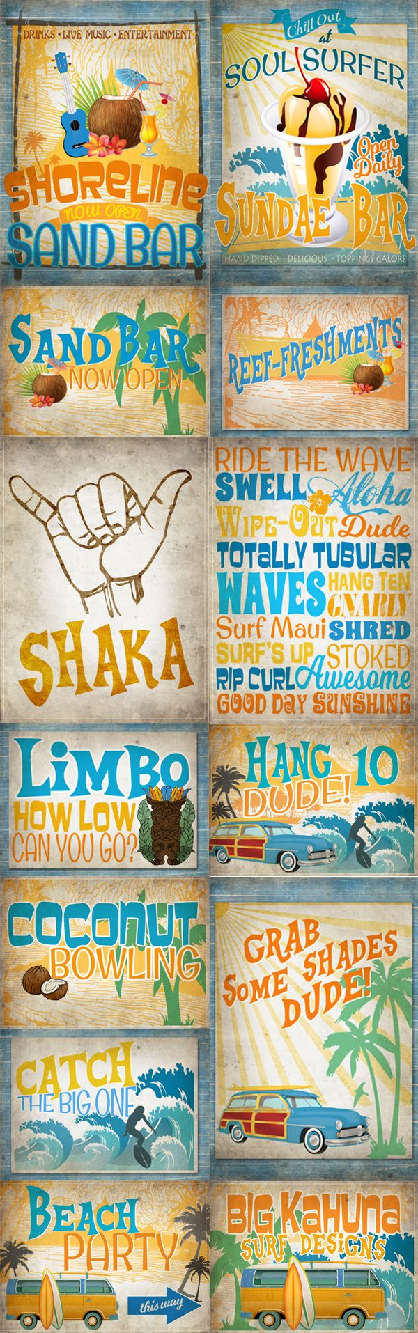 Surf's Up dude! Vintage Surf Printable Party Posters - Grab them at Sassaby Parties