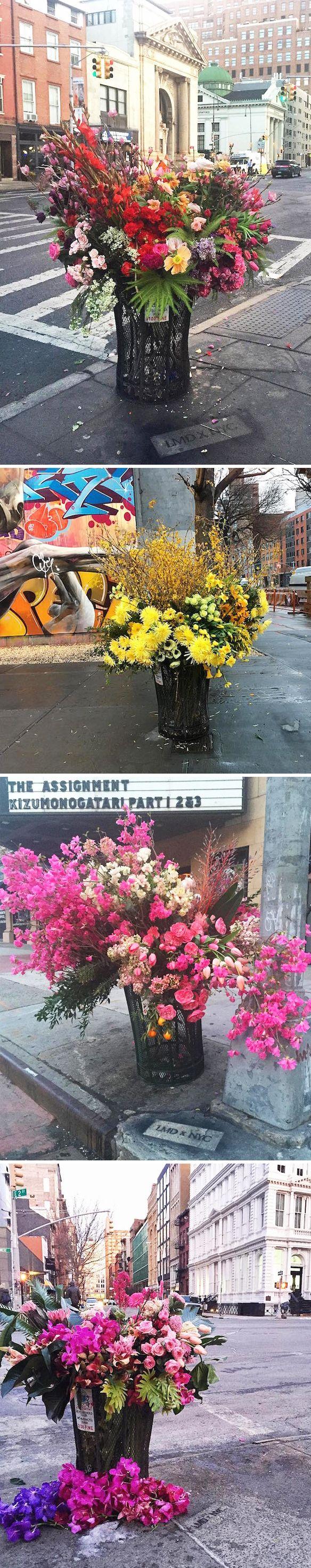 new york's trash cans turned into flower vases! <3 lewis paul miller