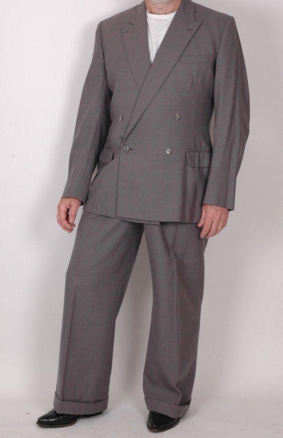 Vintage 3 Piece Suit Tweed Flecked Wool Jacket vest trousers 42