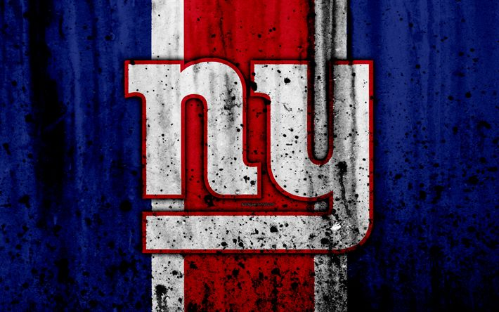 Download wallpapers 4k, New York Giants, grunge, NFL, american football, NFC, logo, USA, art, stone texture, East Division