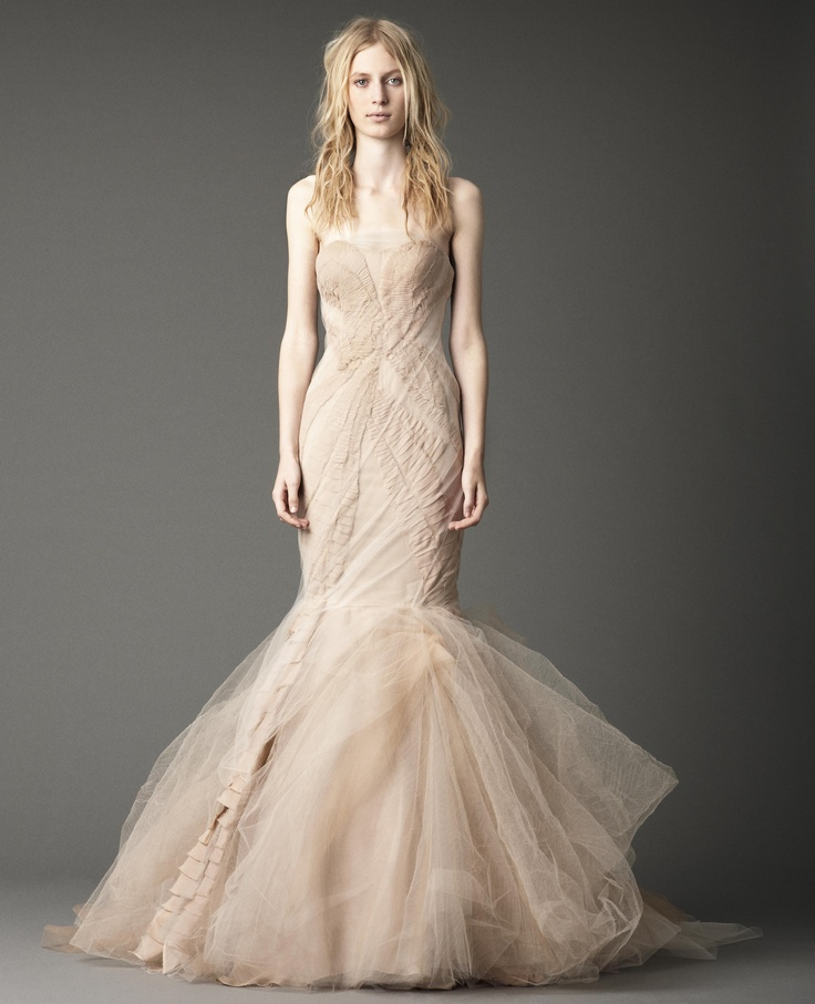 Strapless mermaid gown with chiffon laddering and tumbled for Vera wang mermaid wedding dresses