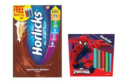 Free Sketch Pen Set with 500gm Chocolate Horlicks Jar & BIB. Valid at all super markets across North, East & West India.