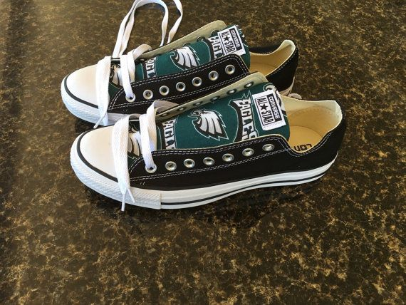 Converse Chuck Taylors Black Low Top Sneakers Philadelphia Eagles Print free shipping US. PLEASE READ THE DESCRIPTION FULLY  This listing is for Converse Chuck Taylors Custom NFL Philadelphia Eagles Football Print. Examples for when you are ordering ( lo means low top converse and hi mens hi top converse )  Example - BLACK LOW TOP TONGUE means your ordering BLACK LOW TOP CONVERSE WITH FABRIC JUST ON THE TONGUE Example - BLACK HI TOP TONGUE means your ordering BLACK HI TOP CONVERSE WITH…
