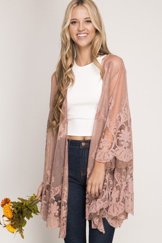 """3/4 Sleeve floral lace kimono cardigan. - 70% cotton 30% polyester - MODEL IS 5'9"""" wearing a size small. - Mocha color"""