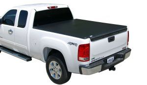 The TonnoPro 42-503 TonnoFold Black 5.5′ Trifold Truck Tonneau Cover can be removed in seconds when you have oversized cargo or simply fold it forward to lock in place for smaller loads. Tri-Fold tonneau cover comes completely assembled – no drilling needed.