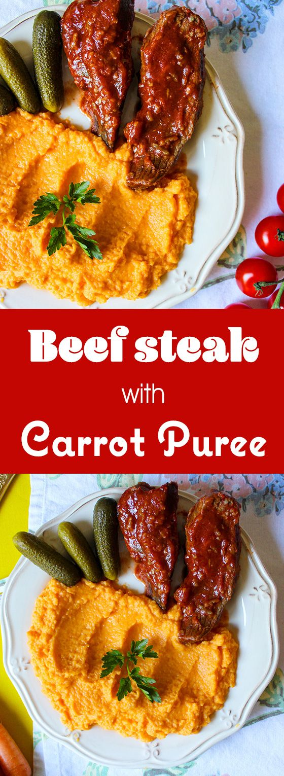 Beef steak with a carrot and celery puree, perfect for a light lunch or dinner.