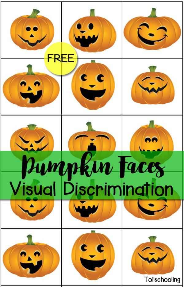 Free Pumpkin Faces Visual Discrimination Printable from Totschooling
