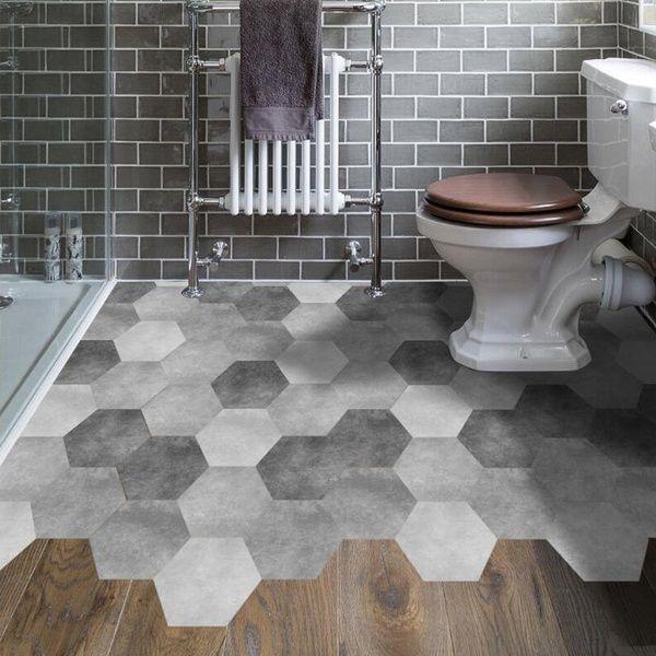 Grey Hexagon Diy Floor Sticker Non Slip Self Adhesive Pvc Sticker Living Room Bedroom Bathroom De Waterproof Bathroom Flooring Tile Stickers Kitchen Tile Floor