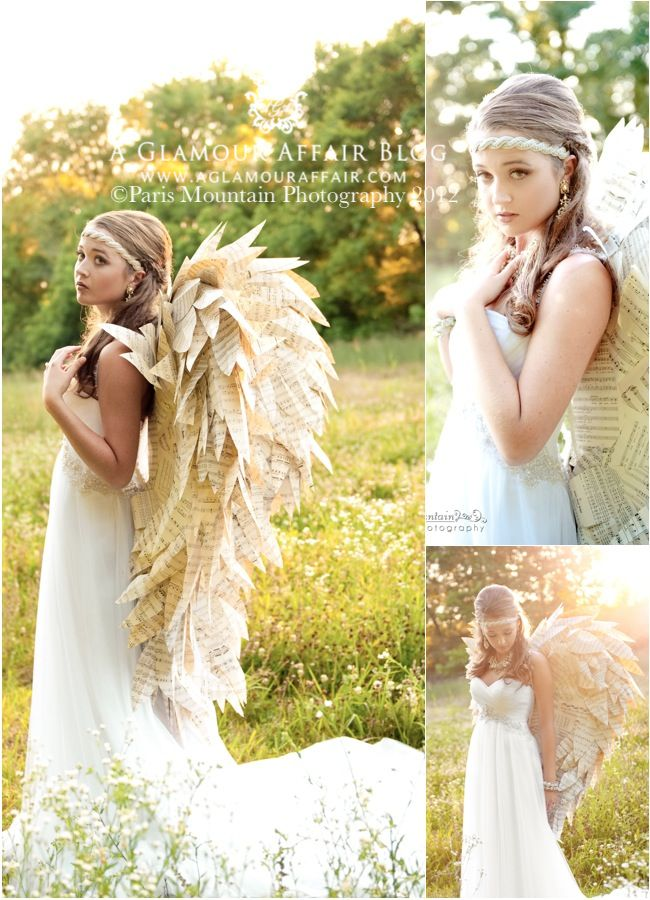 bridal vintage styled photo shoot with gypsy style and paper angel wings