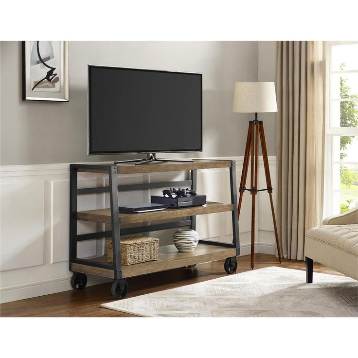 ameriwood industries wade wood veneer 55 in tv stand with rolling casters in rustic gray