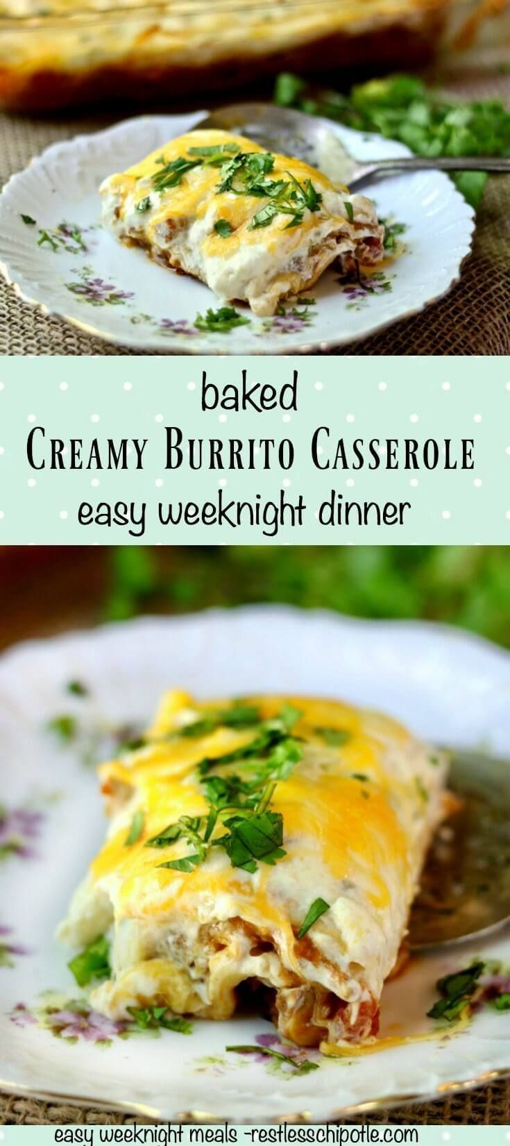 Creamy burrito casserole recipe is so good! Perfect when you want Tex-Mex! You can even assemble it up to two days ahead and bake when needed! From RestlessChipotle.com via @Marye at Restless Chipotle