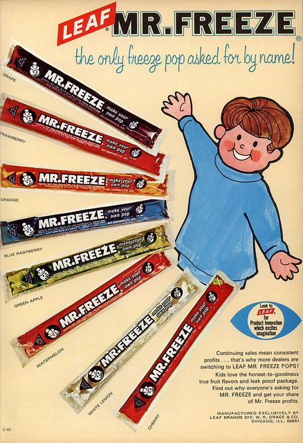 Mr. Freeze ad from 1970- used to buy these for a nickel each!  Loved Em.