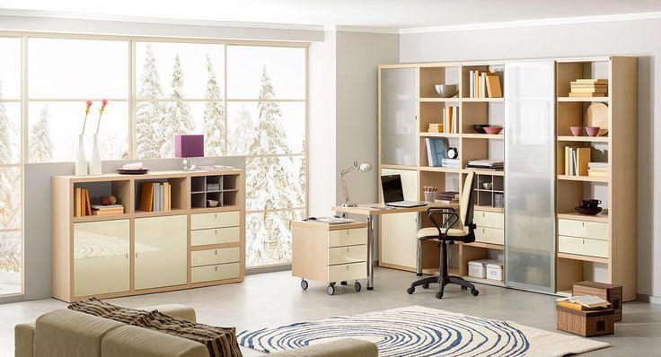 Стеллажи с рабочим местом в комнату школьника или студента | Дизайн интерьера современной детской #астрон #мебель #astron #подростковые #детские