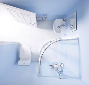 ¿Quién dijo que no es posible un cuarto de baño en el mínimo espacio posible? Un cuarto de bañocompleto en 3 m2 es posible, con una distribución como la que ves en la foto. Para que el espacio sea lo más diáfano posible, se ha instalado una pequeña cabina de ducha de esquina con mampara …