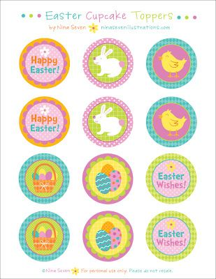 Freebie Easter cupcake toppers by We Love to Illustrate for Children