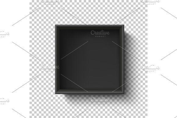 Black Empty Box On Transparent Background Top View By Aleksandrs
