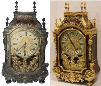300 year old French, LOUIS XIV style, clock was found in an antique shop in Forney Texas.  The Boulle brass and tortiose shell marquitry was in a very bad state of repair and just begging for someone to save it from further deteriorate. See complete story of this restoration.                                                      An article about a 300 year old clock discovered in a warehouse and restored by Fred Tischler.       FRENCH BOULLE MARQUITRY CLOCK BY COQUEREL (1695 - 1701)