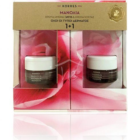 Korres Magnolia Bark Day Cream For All Skin Types 40ml & FREE Magnolia Bark Night Cream For All Skin Types 40ml