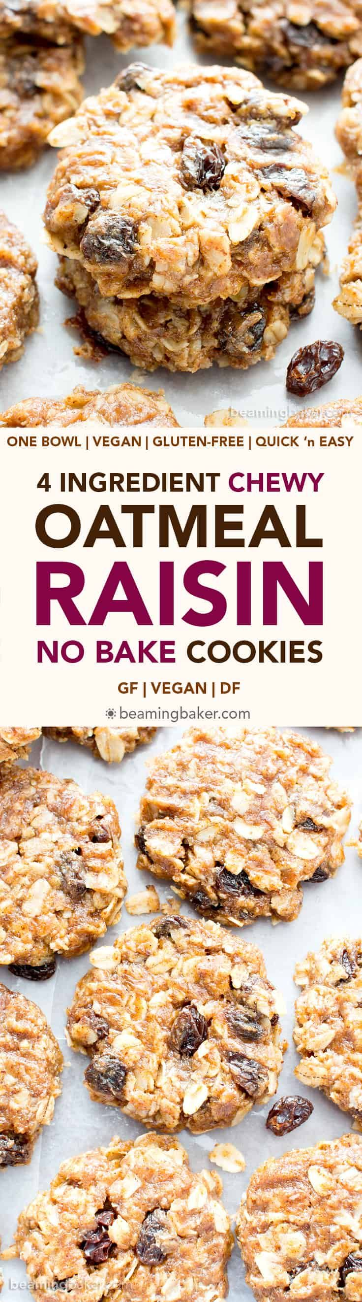 4 Ingredient No Bake Chewy Oatmeal Raisin Cookies (V, GF): an easy recipe for delightfully chewy no bake cookies bursting with raisins and cinnamon flavor!
