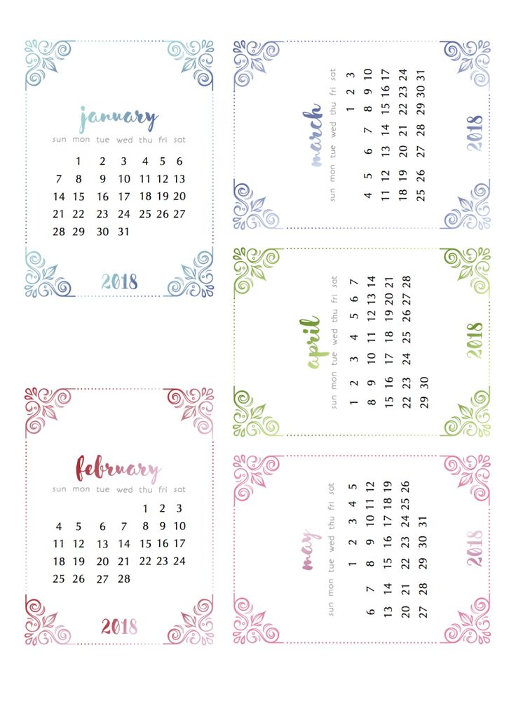 Already? Yep. Some Free 2018 Calendars from scrappystickyinkymess