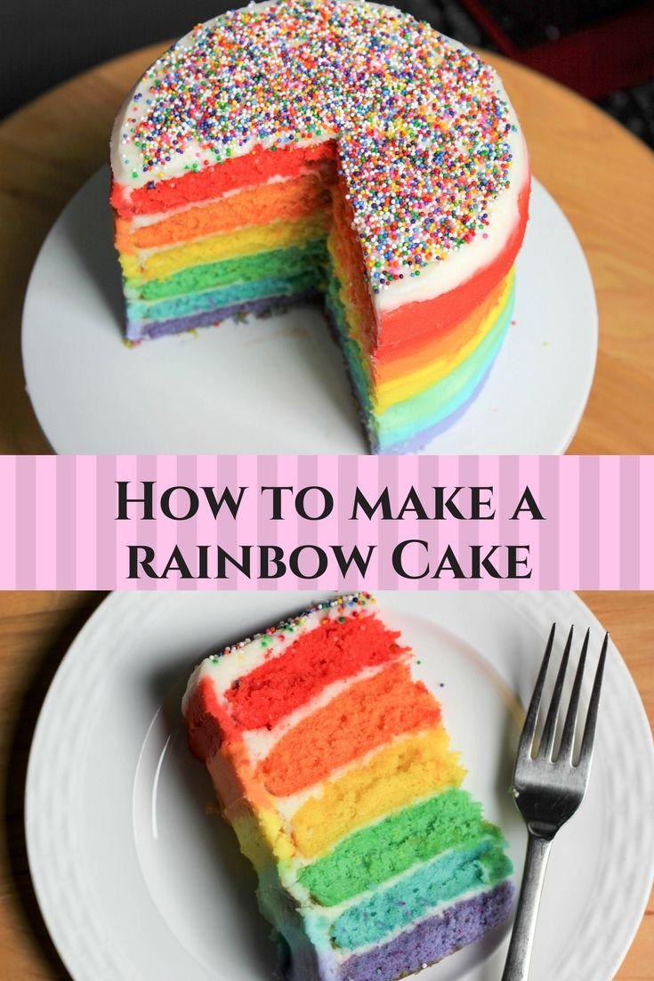 Rainbow cake tutorial DIY