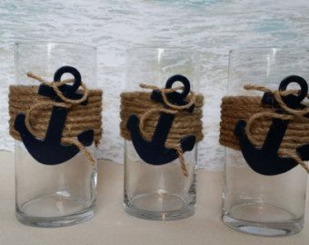 Set of 3 Nautical Vase Centerpieces  - Anchor Navy Boating Boat Coastal Wedding…