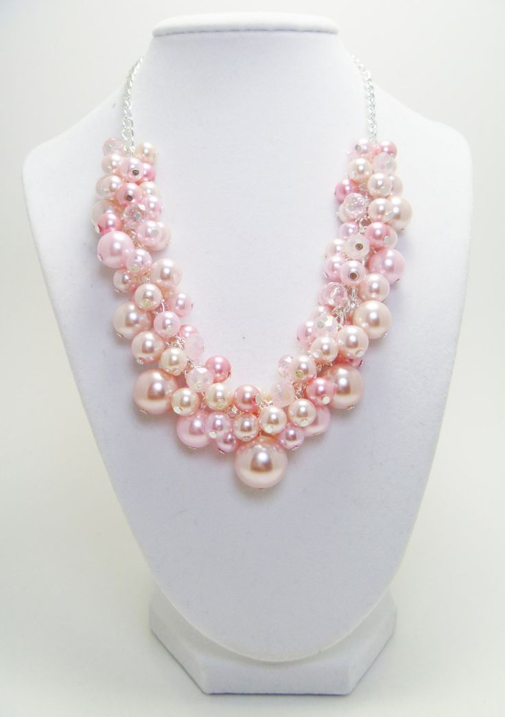 Pink Pearl Cluster Necklace  with crystals for weddings, bridal gift, bridesmaids chunky beaded necklace. $28.00, via Etsy.