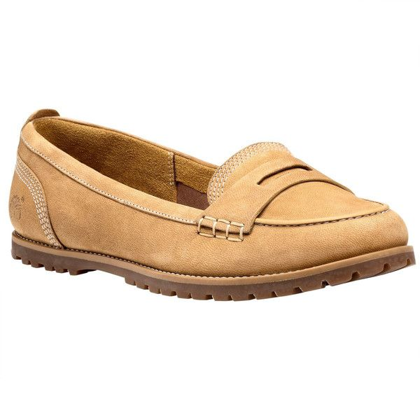 Timberland Women's Joslin Penny Loafer Loafers (120 CAD) ❤ liked on Polyvore featuring shoes, loafers, wheat nubuck, timberland loafers, traction shoes, breathable shoes, timberland footwear e lug sole shoes