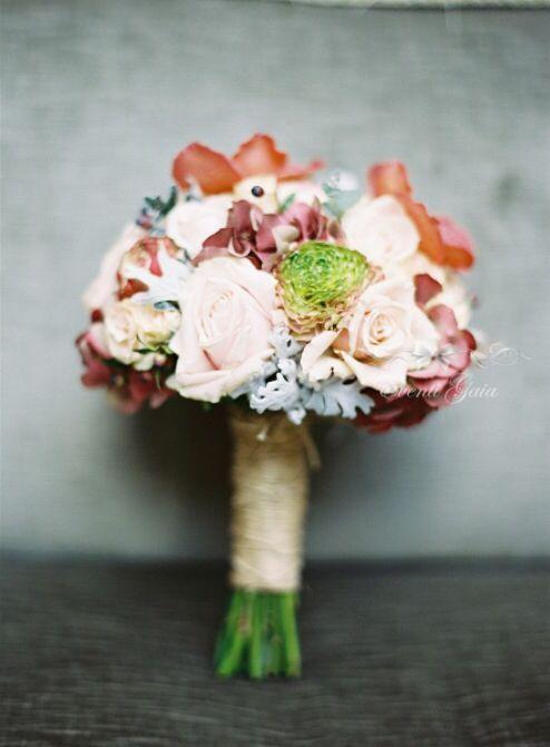 Bridal Bouquet  Roses DustyMiller Pink Bordeaux