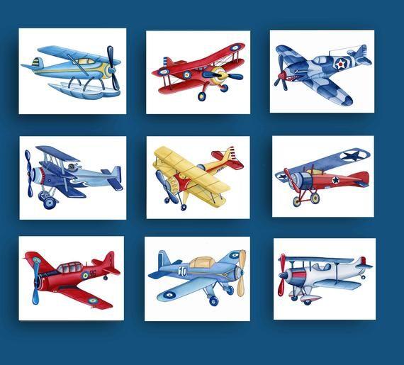 Airplane Wall Art Decor For Boy Nursery Or Bedroom Vintage Etsy Airplane Nursery Art Baby Nursery Wall Art Airplane Wall Art