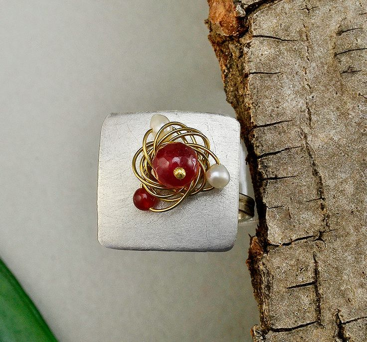 Garnet jade ring, square silver ring, matte silver ring, garnet white ring, ring finger ring, energy stone ring, garnet jade jewelry by ColorLatinoJewelry on Etsy