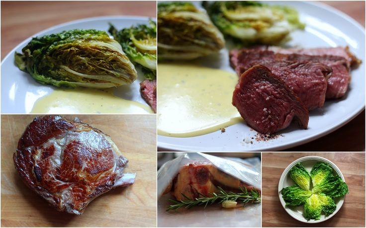 Côte de bœuf   Ochsenkotelett (sous vide) mit gebackenem Romana und Sauce Béarnaise mit Anis-Ysop