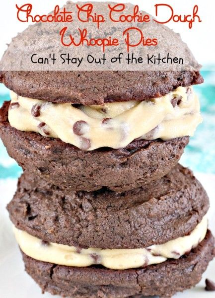 Chocolate Chip Cookie Dough Whoopie Pies | Can't stay Out of the kitchen | Spectacular chocolate whoopie pie with eggless chocolate chip cookie dough inside! Best recipe ever!