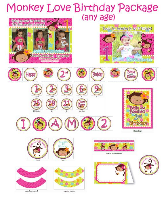 1st birthday girl monkey | Monkey Love Birthday, Monkey Birthday Party, 1st Birthday Girl, 1st ...
