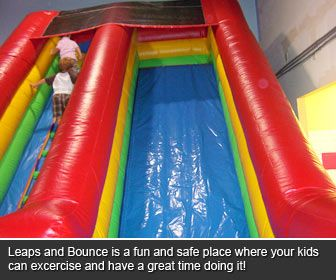 Rainy day? Leaps and Bounce Playcenter in Mytle Beach - Indoor inflatable playcenter