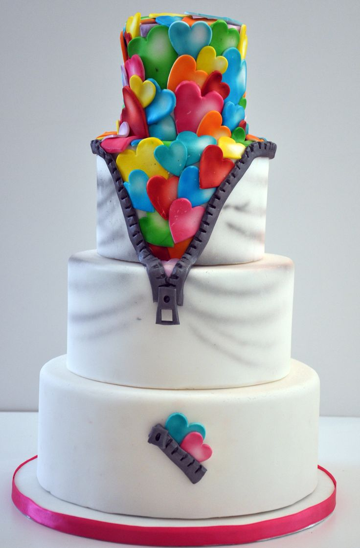 - Unzipped hearts cake - a cake where it looks like the traditional white icing is being unzipped to reveal a riot of colourful hearts underneath. The hearts are all airbrushed