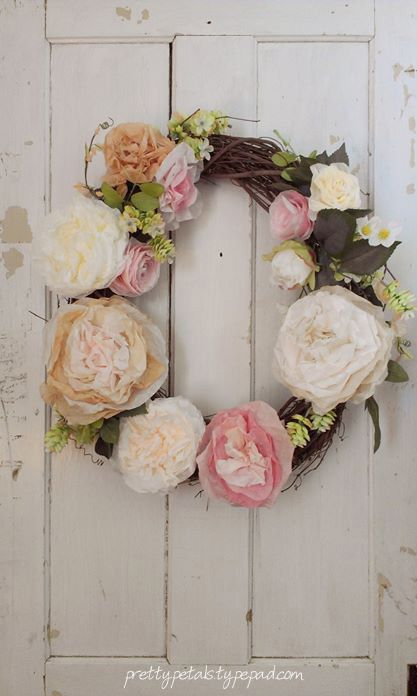 Peony wreath with coffee filter flowers