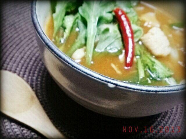 冷蔵庫整理で、、野菜、シーフード、豆腐  ショウガとトウガラシ効かせてポカポカ~ - 25件のもぐもぐ - 11/16  寒いので、、ピリ辛スンドゥブ風スープ by dessinaucharbon