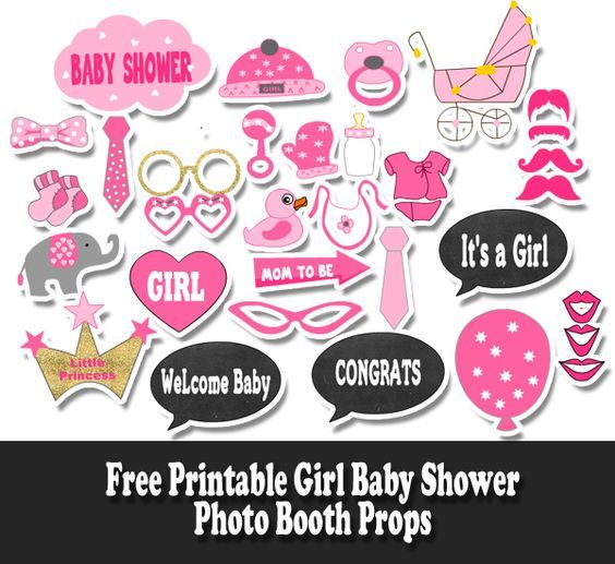 Free Printable Girl Baby Shower Photo Booth Props Photo Booths In