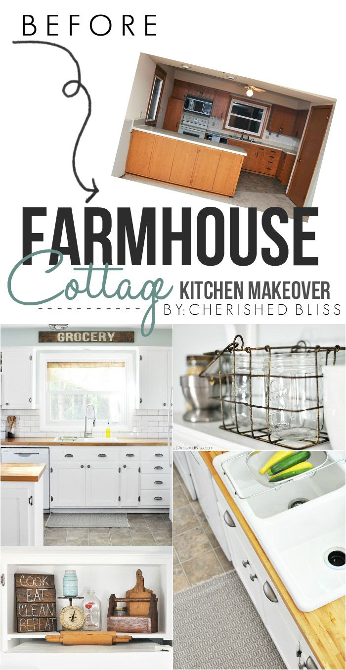 Love this beautiful Farmhouse Cottage Kitchen. Shaker style cabinets, butcher block counter tops, and cast iron sink. All done on a budget!