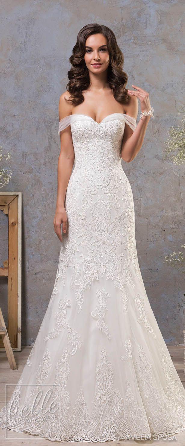 Amelia Sposa Fall 2018 Wedding Dresses - Off the shoulder wedding dress, lace bridal gown #weddingdress #bridalgown #bridal #weddinggown #bridalcouture