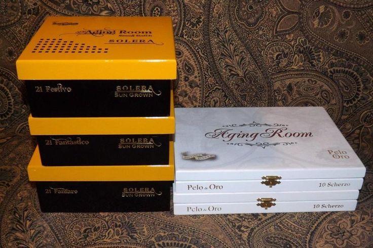 Aging Room Pelo Oro & Solera Wooden Cigar Boxes Purses Crafts Storage
