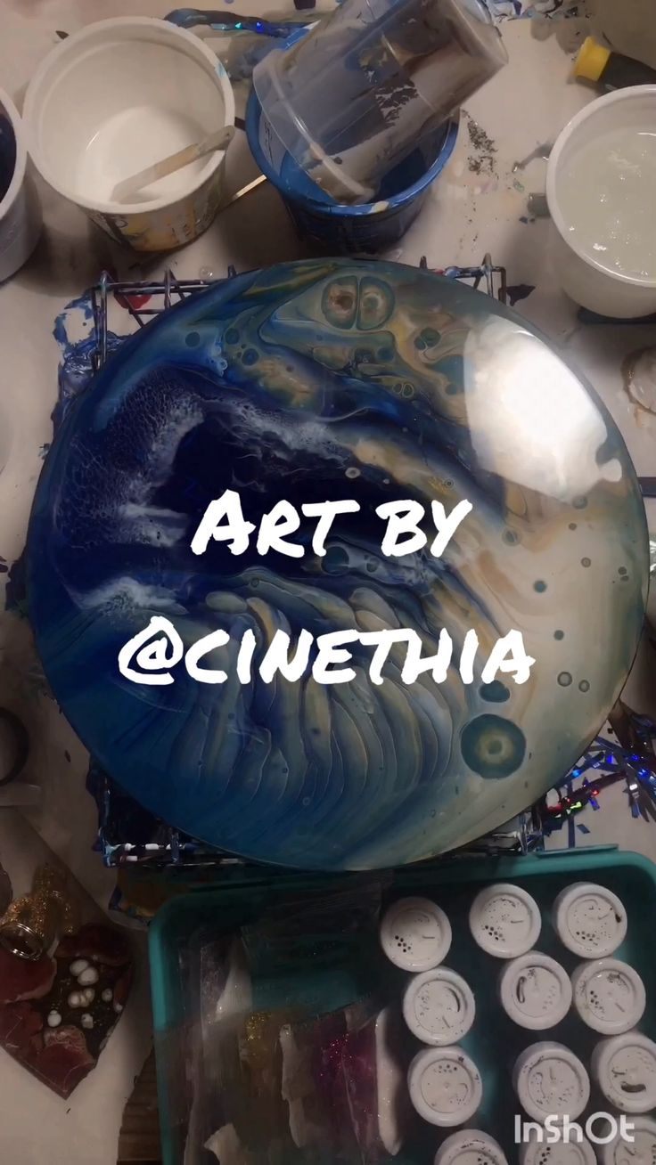From pour to resin beach fluidart with resin waves by @cinethia