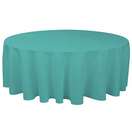 TCPY 90TL 90 Inch Round Polyester Teal Green Tablecloth
