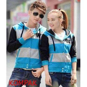 Jaket Couple W Turkis Size: Co (L) LD 51, P 61, PL 55 Ce (M) LD 46, P 58, PL 56 Material: Babytery