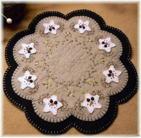 Free Printable Penny Rug Patterns   Starry Night Winter Christmas Penny RUG Candle MAT Pattern   eBay